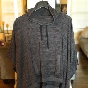 Athleta hooded blissful poncho techie sweat gray